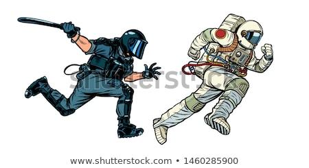 Astronaute émeute police pop art rétro dessin Photo stock © studiostoks