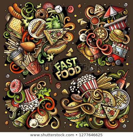 Colorful vector doodles cartoon set of Fastfood combinations of objects Stock photo © balabolka