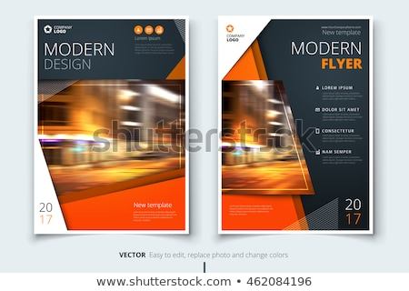Brochure flyer template with city photo Stock photo © orson