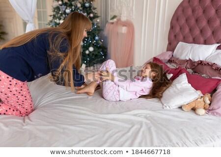 Kettő boldog kislányok ölel ugrik energikus Stock fotó © Giulio_Fornasar