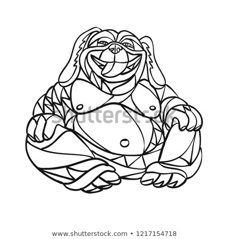 Nevet kutya Buddha mozaik feketefehér alacsony Stock fotó © patrimonio