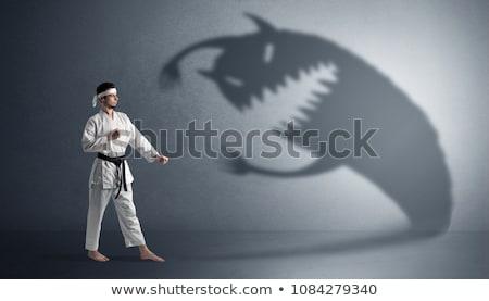 Karate Mann kämpfen groß scary Schatten Stock foto © ra2studio