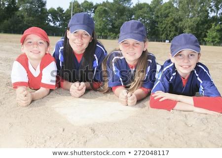 Stockfoto: Baseball · team · grond · natuur · moeder · leuk