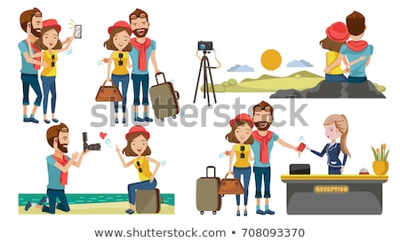 friends travelers taking selfie in airport vector stock photo © robuart