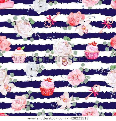 Urodziny ciasta pasiasty modny powitanie Zdjęcia stock © Anna_leni