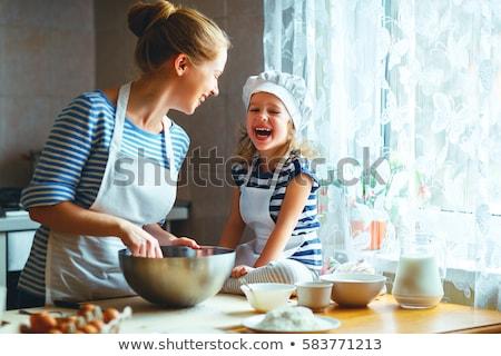 feliz · mãe · filha · farinha · cozinha - foto stock © choreograph