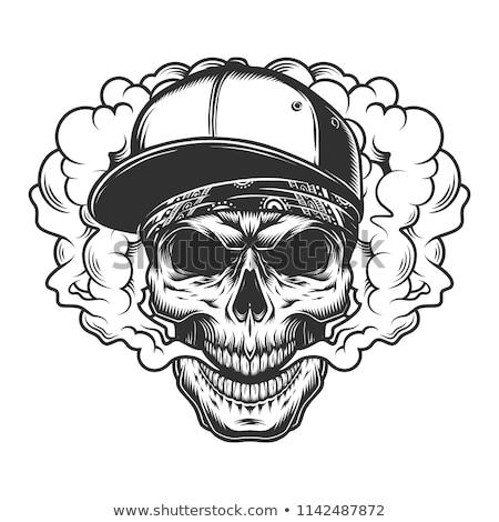Ludzi czaszki palenia tatuaż rysunek cartoon Zdjęcia stock © patrimonio