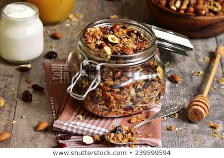 Sült granola diók kókusz házi készítésű méz Stock fotó © Peteer