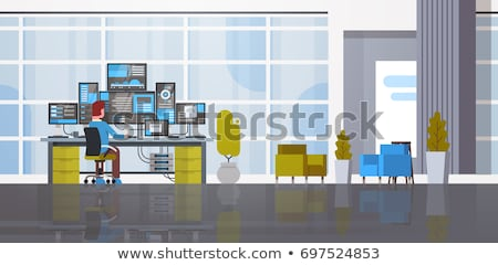 Man Working in Database Center on Computer Vector Stock photo © robuart