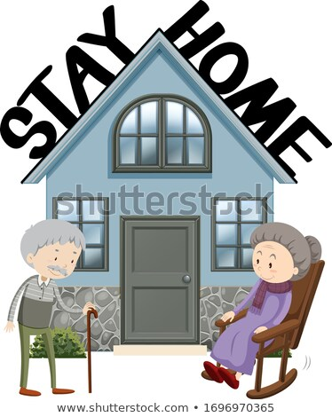 Poster design for coronavirus theme with old people staying home Stock photo © bluering