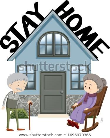 Plakat projektu koronawirus starych ludzi domu ilustracja Zdjęcia stock © bluering