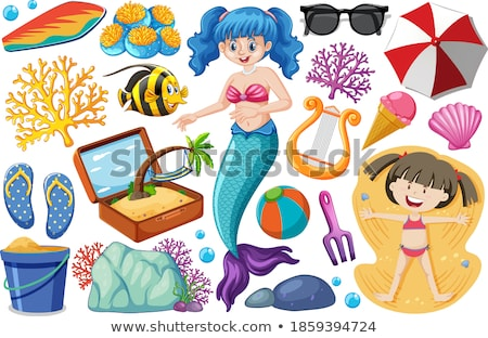 Ingesteld zomer strand icon zeemeermin cartoon Stockfoto © bluering