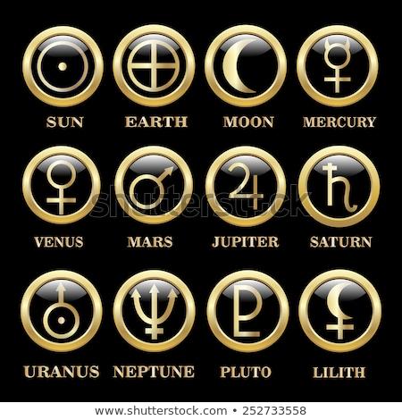 Fényes bolygó szimbólum globális ikon nyilak Stock fotó © TheModernCanvas