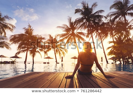 férias · trópicos · ilustração · mulher · fora · praia - foto stock © dayzeren