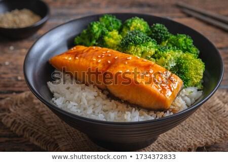 Pirinç deniz ürünleri soya sosu yalıtılmış beyaz Stok fotoğraf © zybr78