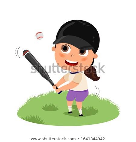 Lány denevér baseball ütő külső megszégyenített baseball Stock fotó © xochicalco