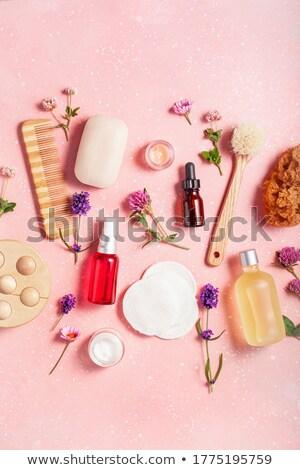 Rózsaszín virágok ecset szivacs wellness szépségszalon Stock fotó © juniart