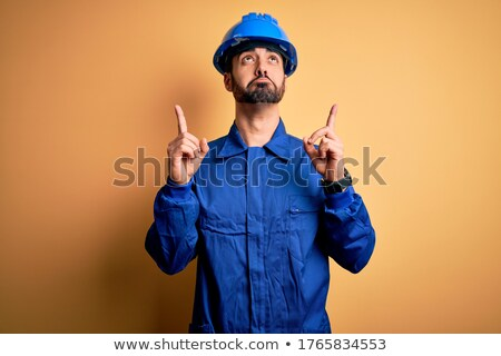 Artisan regarder malheureux bureau sécurité bleu Photo stock © photography33