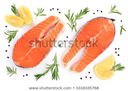 fresh salmon steak on white background stock photo © ozaiachin