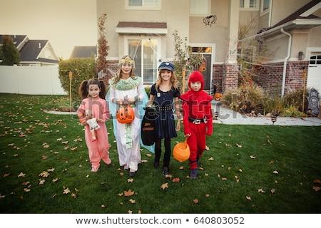 Truc buurt kinderen halloween kostuums voorstads- Stockfoto © lisafx