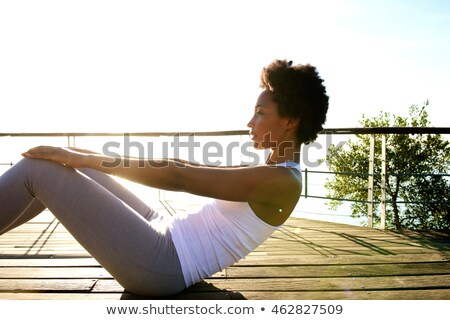 kadın · yoga · plaj · spor · portre · genç - stok fotoğraf © juniart
