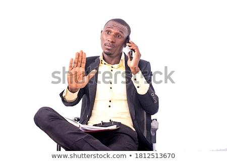 Empresario mano gestos hablar teléfono móvil Foto stock © photography33