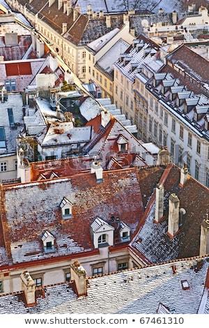 neve · telhado · azulejos · edifício · construção · casa - foto stock © meinzahn