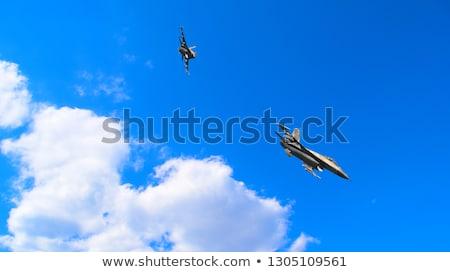 Rosyjski myśliwiec ponury niebo widoku Zdjęcia stock © kyolshin