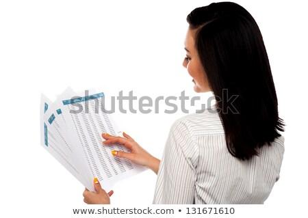 işkadını · okuma · belgeler · iş · kâğıt · pencere - stok fotoğraf © stockyimages