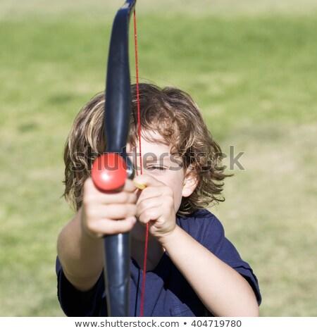 Fiú játék íj nyíl felső sport Stock fotó © zzve