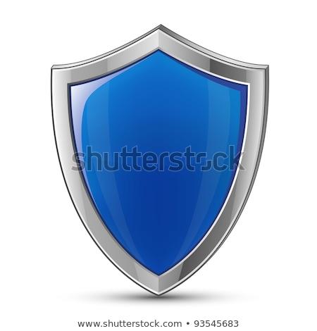 Glanzend Blauw schild embleem zilver veiligheid Stockfoto © mikemcd