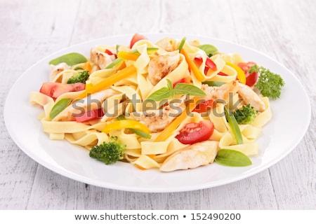 Tagliatelle tavuk akşam yemeği domates öğle yemeği spagetti Stok fotoğraf © M-studio
