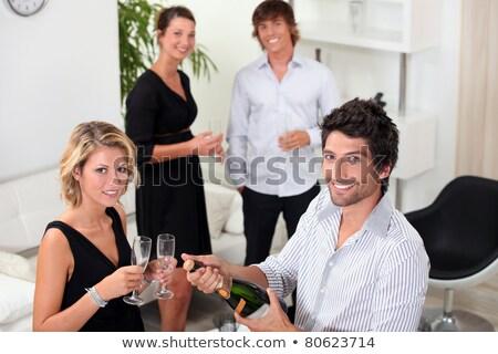 Kettő jólöltözött párok iszik pezsgő bor Stock fotó © photography33
