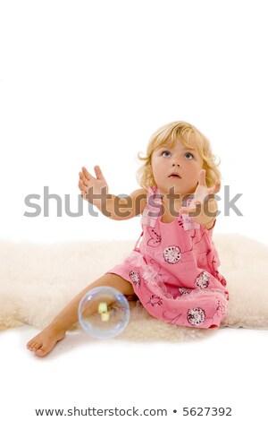 jongen · bubbels · gras · bloemen · voorjaar · gelukkig - stockfoto © konradbak