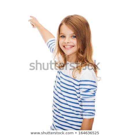 lány · mutat · képzeletbeli · képernyő · oktatás · iskola - stock fotó © dolgachov