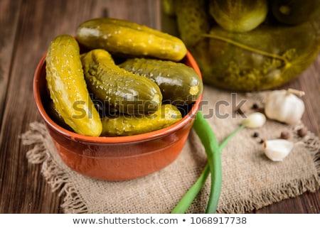Savanyúság hagyományos vidék kerámia edények házi készítésű Stock fotó © artlens