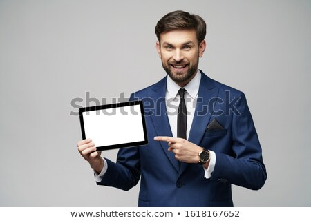 Affaires comprimé homme heureux Photo stock © jackethead