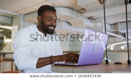 üzletember · tabletta · külső · kamerába · közelkép · néz - stock fotó © jackethead