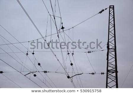 Vasút vonalak kék ég kapcsolat drót építkezés Stock fotó © meinzahn