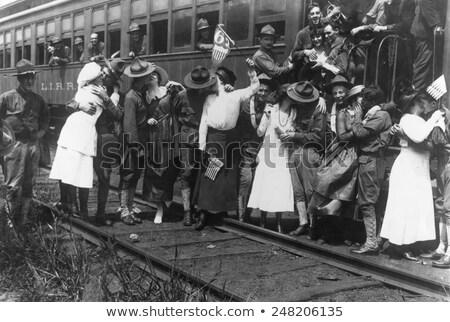 locomotiva · estilo · imagem · ferrovia · trem · nuvens - foto stock © xochicalco