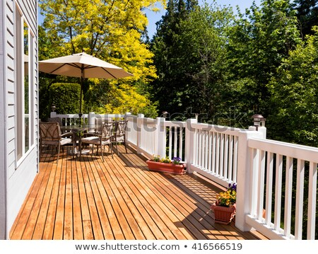 Outdoor Furniture on Cedar Wood Patio during nice day  Stock photo © tab62