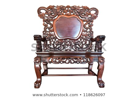 Old large wooden polished chinese chair Stock photo © papa1266