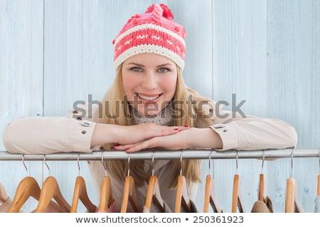 スタイリッシュ 女性 レール フェンス ストックフォト © juniart