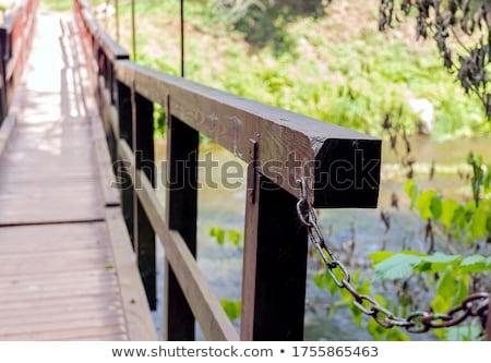 Close up of wooden railing of (bridge) in forest Stock photo © ziprashantzi