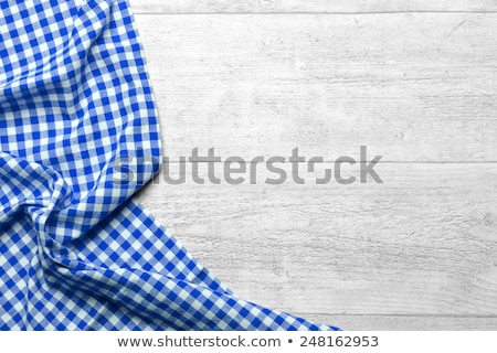 White, Grey and Blue Gingham Tablecloth Stock photo © zhekos