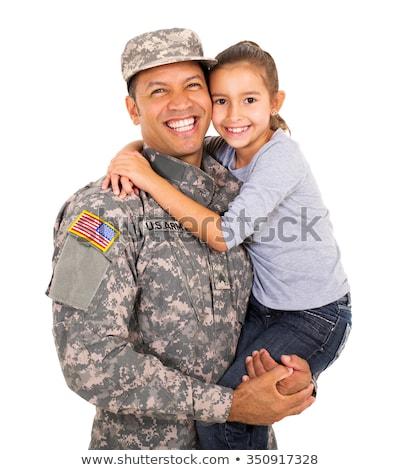 man · camouflage · handen · hand · gezicht · achtergrond - stockfoto © elnur