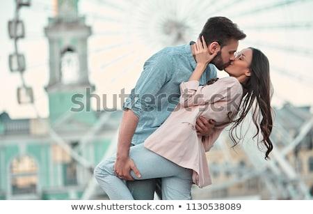 Attractive young couple on the ferry Stock photo © konradbak