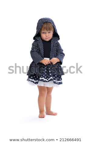 Little girl angry in the hood with polka dots Stock photo © RuslanOmega