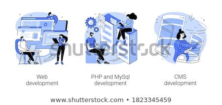 Cms kodowanie biznesmen Internetu technologii komunikacji Zdjęcia stock © georgejmclittle