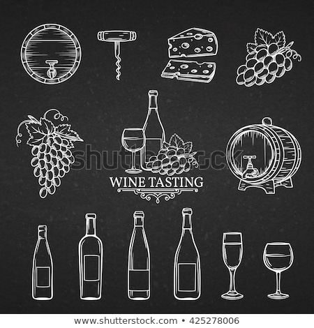 Glass of wine icon drawn in chalk. Stock photo © RAStudio